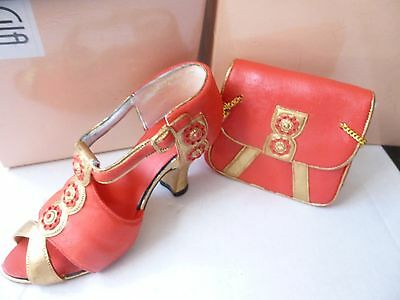 Boxed Leonardo Nostalgia Handbag & Shoe Ornaments Red & Gold Lovely Design