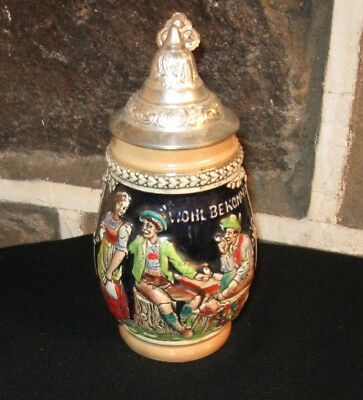 German  Beer Stein Traditional Small One  Lidded Good Quality