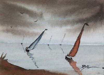 ACEO Original Art Watercolour Painting by Bill Lupton - Strong Winds