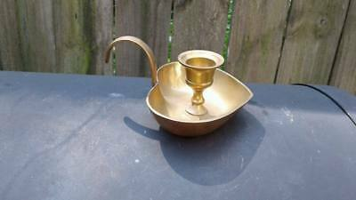 "Vintage Solid Brass Candle Holder, Heart Shaped W/Handle   ""India"""