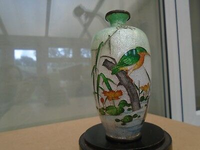 small japanese OTA TOSHIRO silver wire cloisonne vase with kingfisher  WOW LOOK