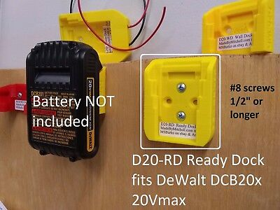 D20 Ready Dock, Cover, Mount, Store Dewalt Battery, USA PN# D20-RD