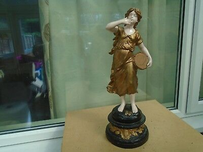 large french antique painted spelter figure signed L & F Moreau    old lamp base