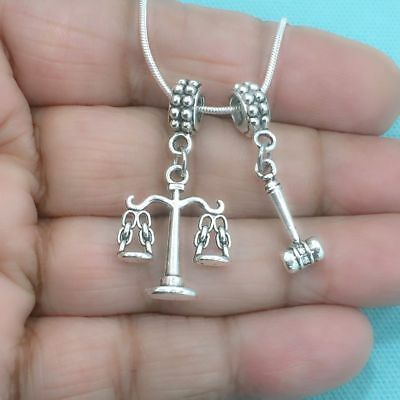"""SILVER /""""LAW OF JUDICIAL GAVEL/"""" CHARM WITH SPLIT RING"""
