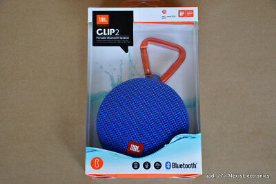 New Jbl Clip 2 Portable Bluetooth Speaker Color: Blue Ipx7 Fast Free Shipping
