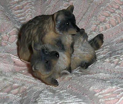Vtg United Designs Playing Raccoons Little Raccoon Critter Figurine