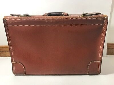 Vintage R.F. Young Brown Leather Cowhide Doctor's Bag Briefcase Needs Repair