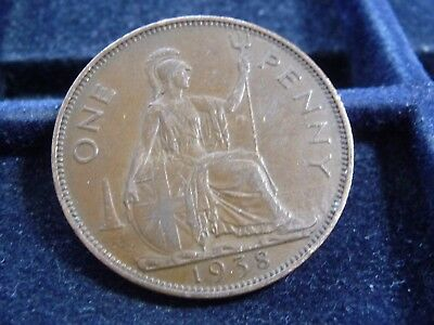 1938 Great Britain Large Penny In Very Fine Condition M-182