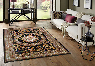 Small - X Extra Large Black Traditional Classic Medallion Area Durable Rug