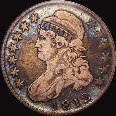 1812 Capped Bust Half Dollar Anacs Vf 20 Toned