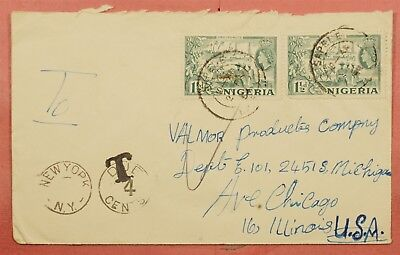 1950's Nigeria Sapele Cancel Postage Due Cover To Usa