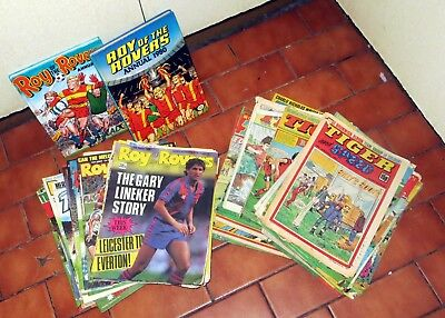 Job Lot 65 Issues of Roy Of The Rovers & annuals plus Tiger Magazines 1980s