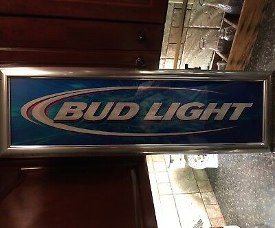 Rare Vintage 2003 Bud Light Beer Mirrored Sign man cave anheuser busch