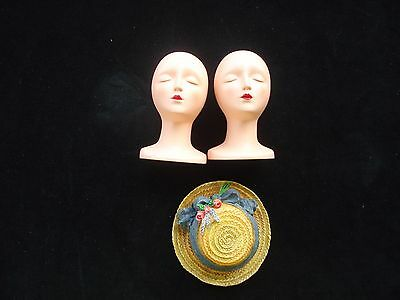 Vintage Collectible Miniature Resin Mannequin Head(2) & Resin Straw Hat