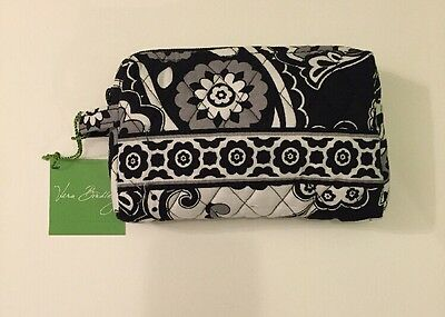 NWT Vera Bradley Travel SMALL Cosmetic Bag In Midnight Paisley Black White