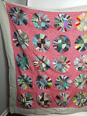 "VINTAGE 30s 40s ? QUILT TOP 81"" X 76"" Handmade with Great old Prints!"