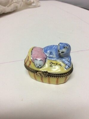 Limoges Trinket Box Cats Petit A La Main