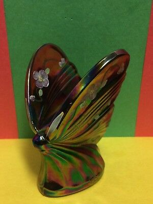 Vtg.new Fenton Signed By Artist Hand Painted Plum Opalescent Butterfly Figurine