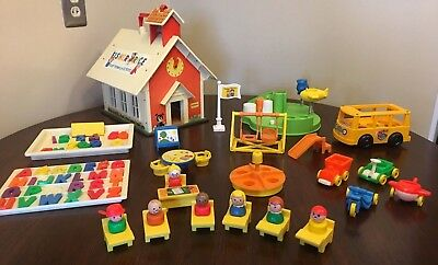 Vintage Fisher Price Little People School House Playground Riders Bus 🚌
