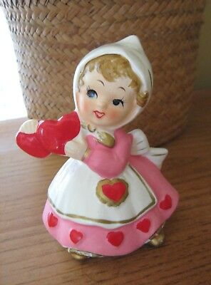 Vintage Lefton Valentine's Day Girl with Hearts Figurine #7173 - Sweet!