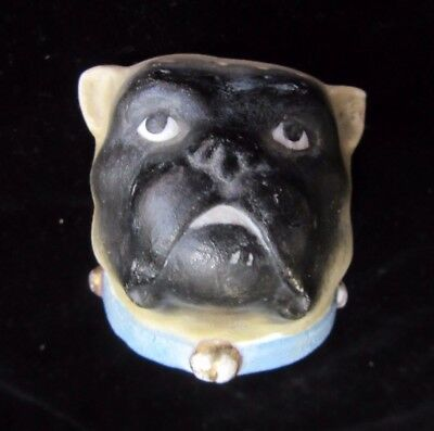 Antique Bisque Hatpin Holder Figural  DOG Head Pug ? Mastiff ? Small