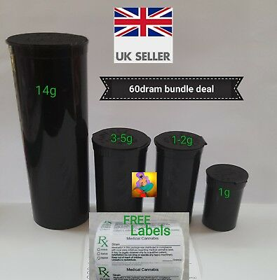 SALE 60 19 13 & 6 dram SMELLPROOF Medical weed Pop Top Containers FREE rx LABELS