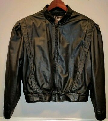 Vintage 80s Style Women's Real Leather Bomber Jacket, Sz 18. Very good condition