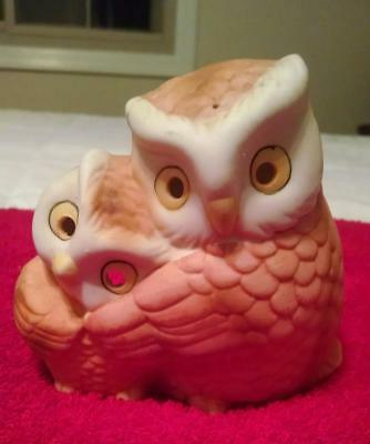 """Vintage 1960's Porcelain Owl Candle Holder-4 1/2""""Wx5""""H-NEVER USED-Mint Cond!"""