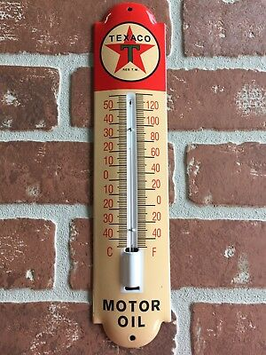 TEXACO MOTOR OIL / GASOLINE PORCELAIN THERMOMETER GARAGE SIGN 😎 Buy It Now !!!