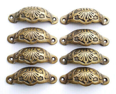 "8 Apothecary Drawer Cup Pulls Handles Ant. Victorian Style solid brass 3""c. #A2"