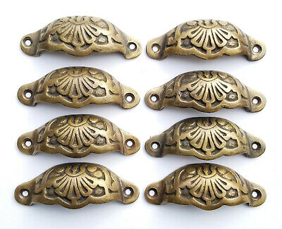 "8 Apothecary Drawer Cup Pulls Handles Antique Victorian Style 3 9/16""  #A2"