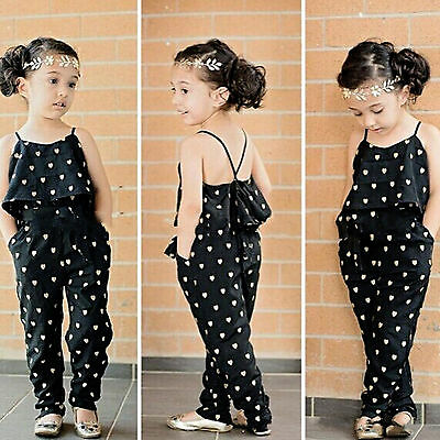 Toddler Kids Girls Sleeveless Romper Jumpsuit Bodysuit Playsuit Clothes Outfits