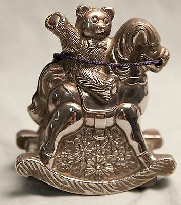 Vintage Teddy Bear on a Rocking Horse Coin Piggy Bank Silver Toned