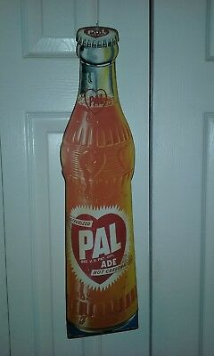 "Vintage Pal Cola Pal-Ade Bottle Shaped Advertising Sign - 23"" - COOL!"
