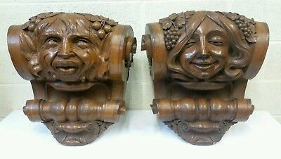 Awesome Pair Of Antique Quarter Sawn Oak Carved Corbels Faces
