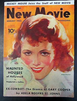 1933 NEW MOVIE Magazine JANET GAYNOR cover MICKEY MOUSE article
