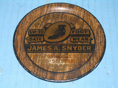 Up To Date Footwear James A Snyder Shoe Rapid City IA Tin Litho EARLY Tip Tray