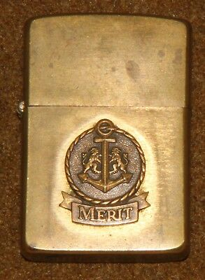 Vintage 1932 1985 Solid Brass Zippo Lighter - Merit
