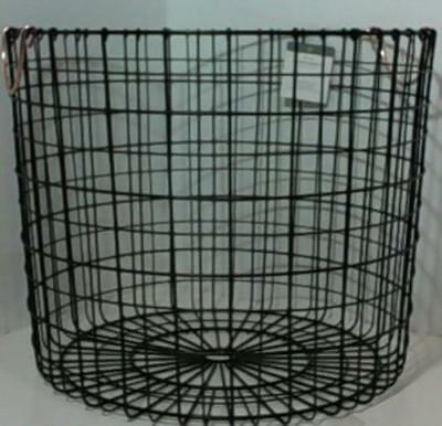 NEW Threshold Wire Log Basket with Copper Handle - Matte Black