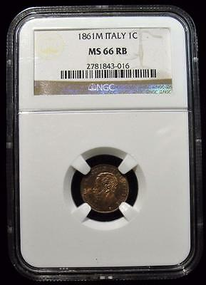 Italy: Vittorio Emanuele II Centesimo 1861-M MS66 Red and Brown NGC.