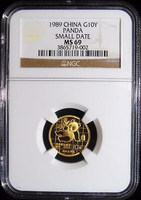 China: 1989 GOLD 10 Yuan PANDA SMALL DATE 1/10 Oz. MS-69 NGC.