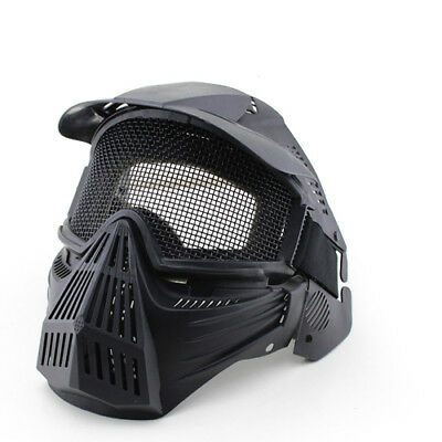 CS Game Mask Archery Paintball Airsoft Full Face Guard Metal Mesh Goggles Black