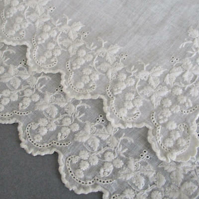 Antique BRODERIE ANGLAISE Hand Embroidered WEDDING Handkerchief WHITEWORK Eyelet