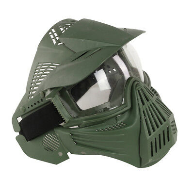 CS Game Mask Full Face Guard Crystal Goggle Archery Paintball Airsoft Dark Green