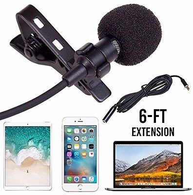 Lavalier Microphone Mic by Lifestyle Designs for Smartphones Laptops or Cameras