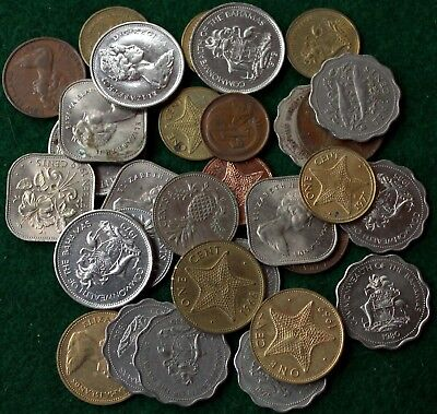 Bulk Lot of Coins of the Bahamas, 25, 15, 10, 5, and 1 Cents