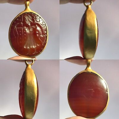 Wonderful Stone Old Carnelian Hunter intaglio  Gold gilding  Pendant