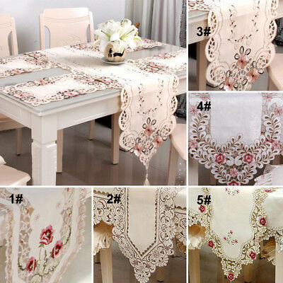 Embroidered Holiday Poinsettia Table Runner Cutwork Centre Piece Table Runner