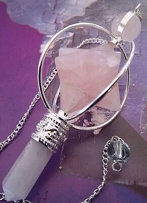 Rose Quartz Crystal Spinning Merkaba Dowsing Pendulum,sacred Geometry,with Pouch