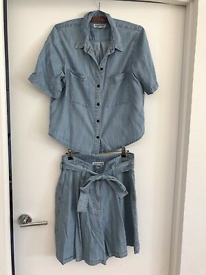 Country Road Women's Chambray Shirt Shorts Set Size S 10 Excellent Condition